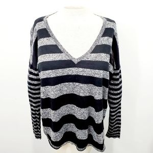 Express V-Neck Grey & Black Stripe Knit Top Size S